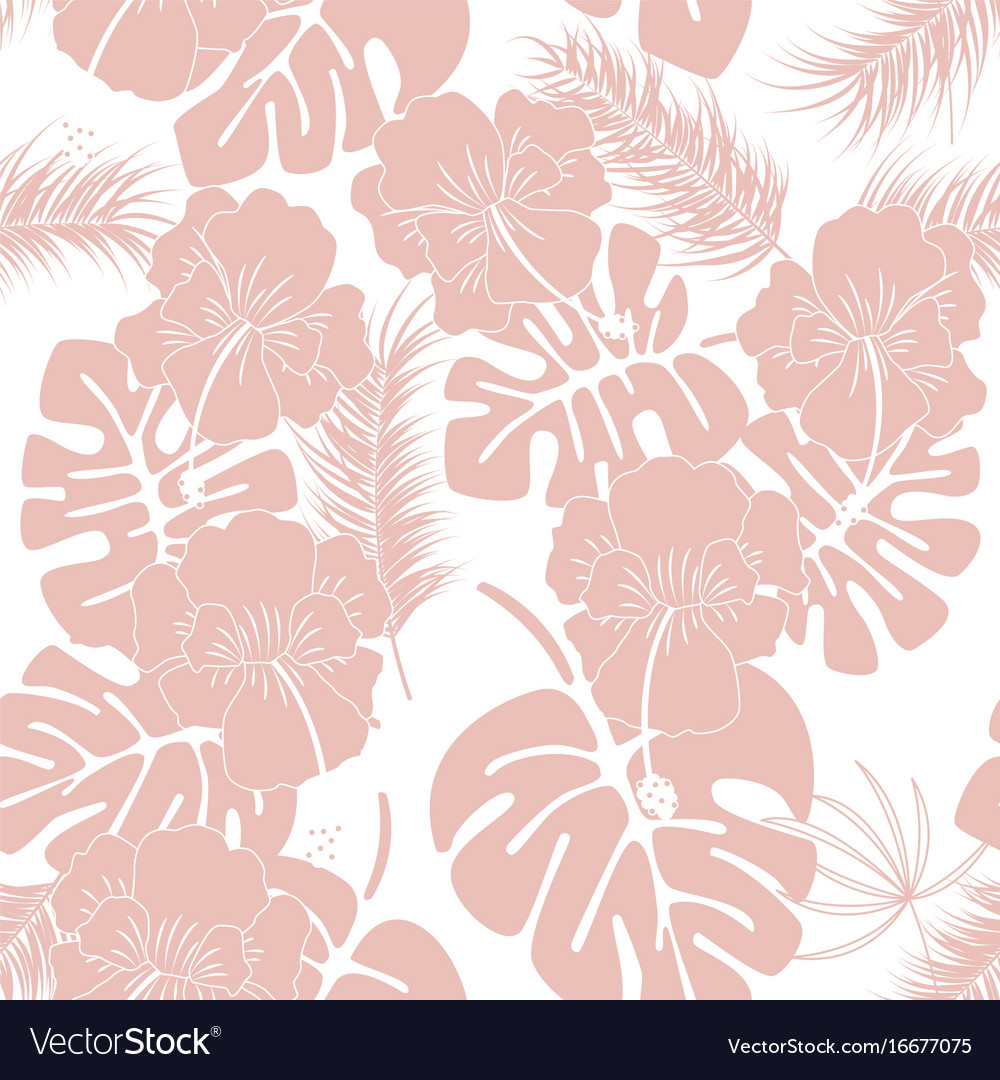 Seamless tropical pattern with pink monstera