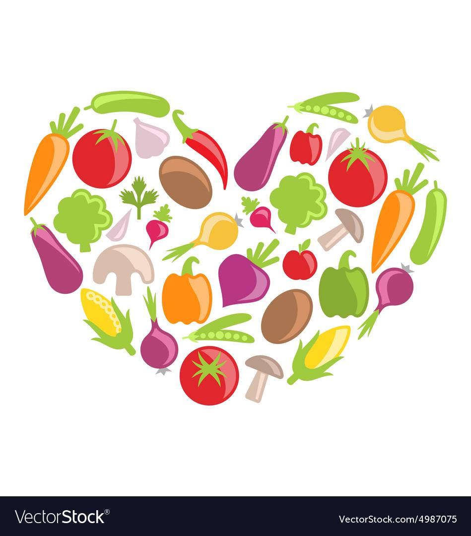 Set Colorful Vegetables in Heart Shape