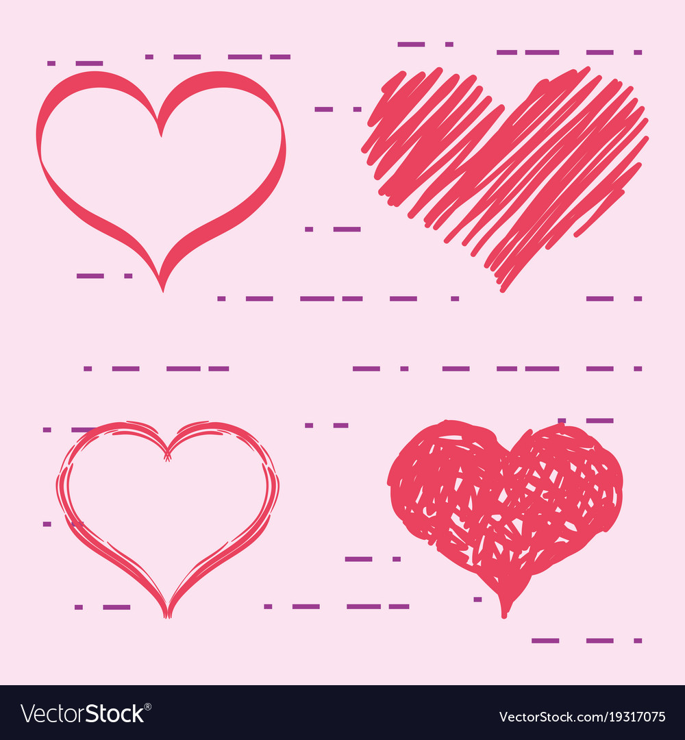 Set Hearts With Different Shapes To Love Symbol Vector Image