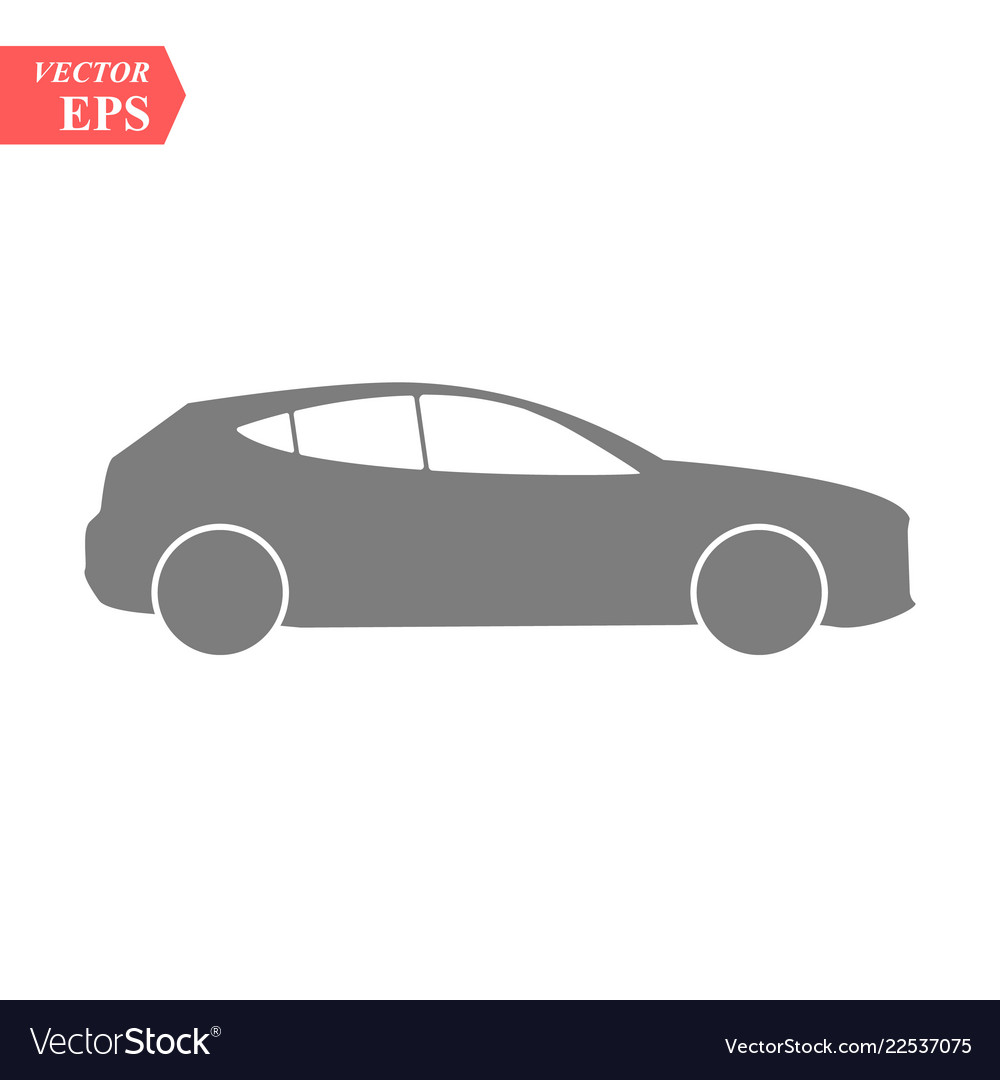 Simple car icon flat hatchback symbol perfect