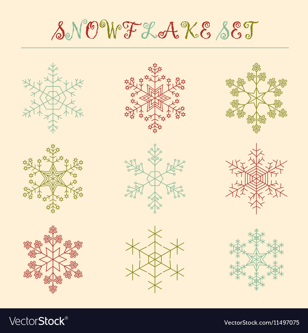 Snowflake icon set Vintage outline version vector image