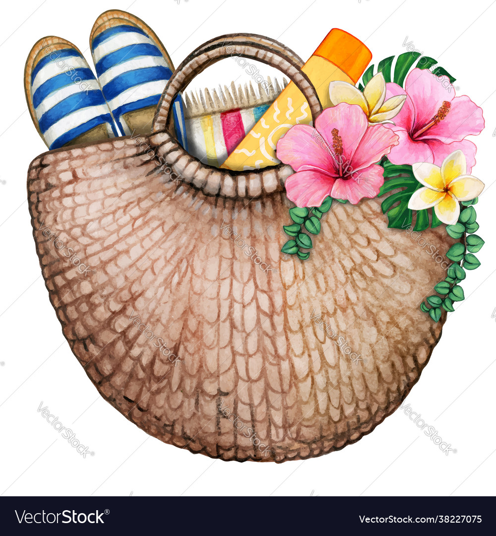Watercolor beach bag with flowers sun screen