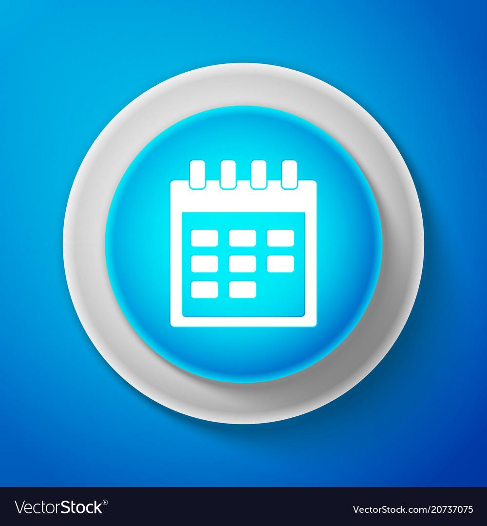 White calendar icon isolated on blue background