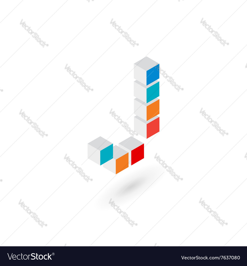3d cube letter J logo icon design template vector image