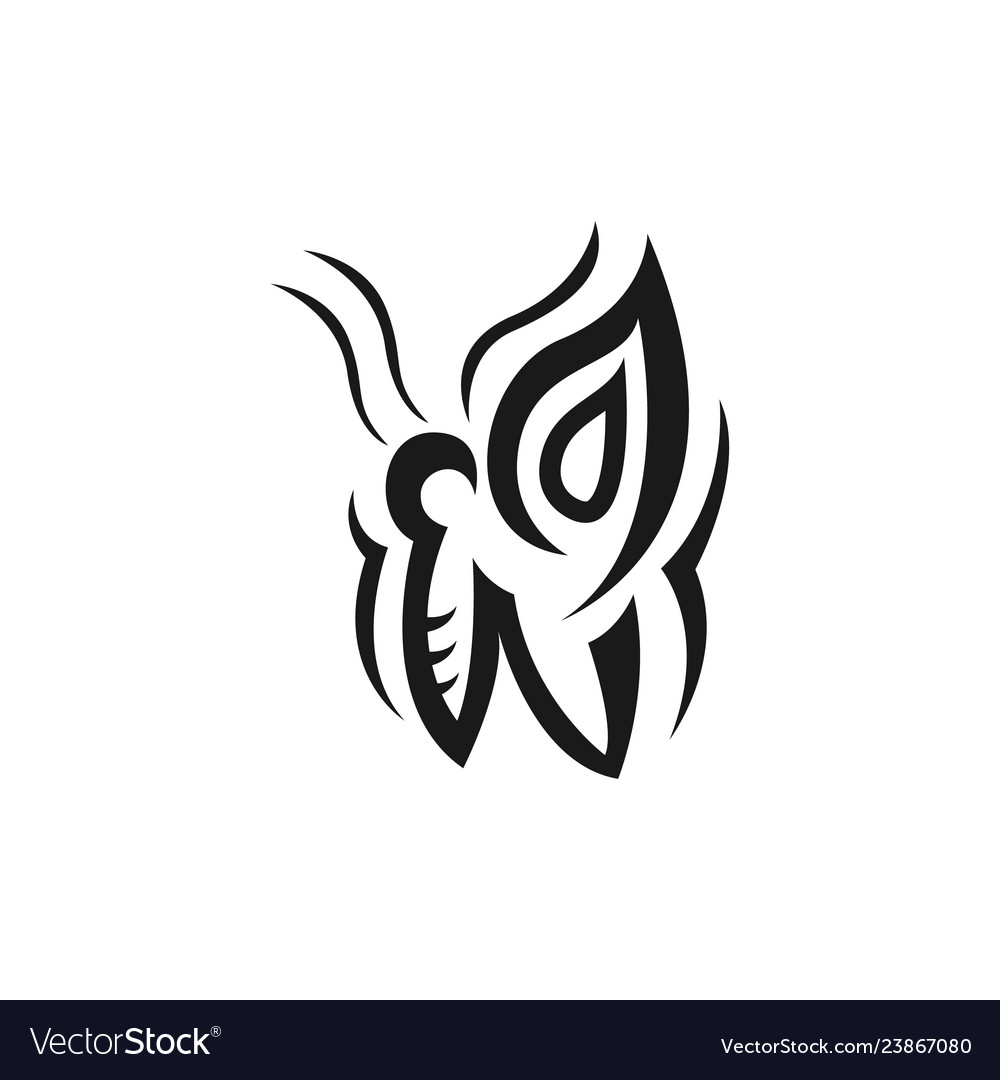 Abstract butterfly icon in tribal