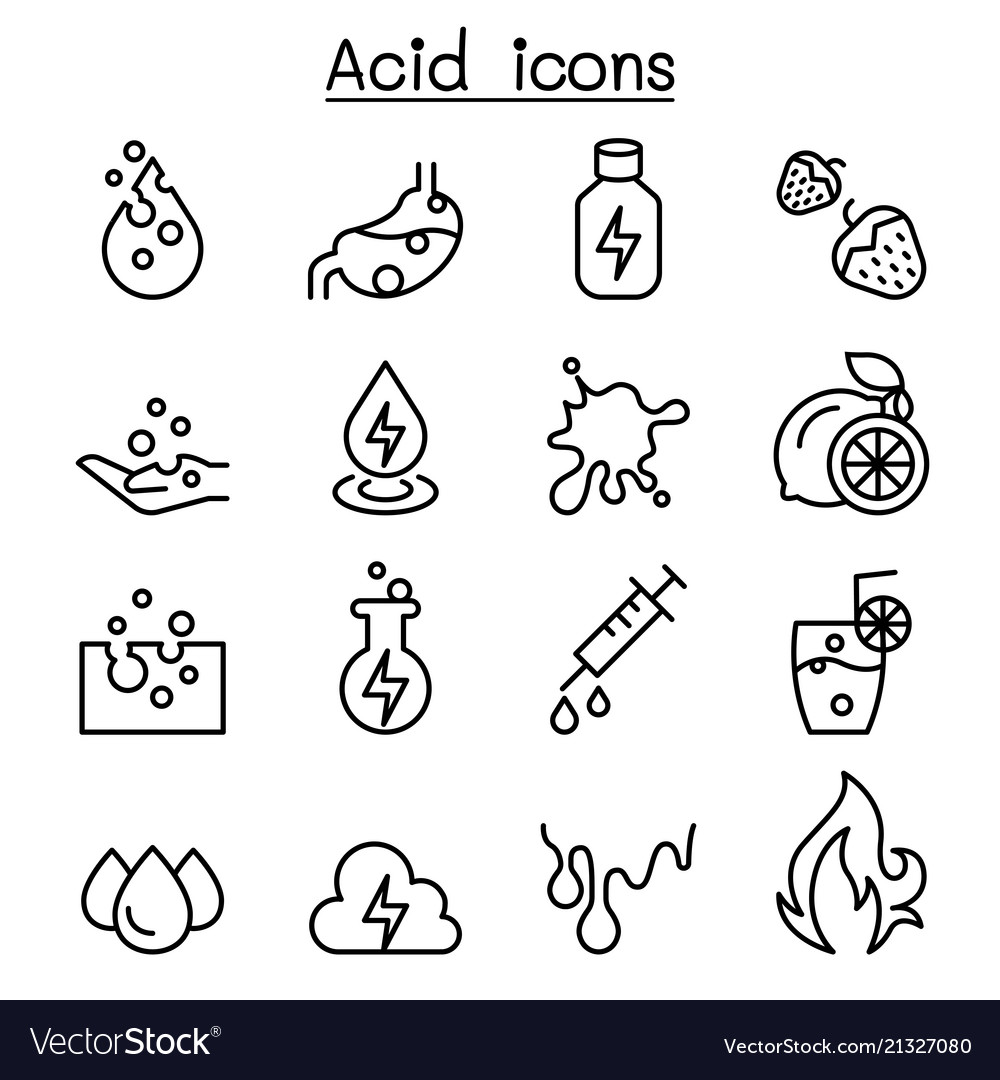Acid icon set in thin line style