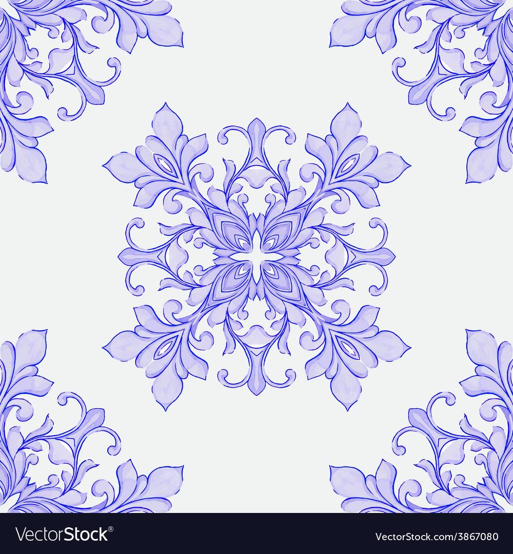 Barocco watercolor seamless lace ornament