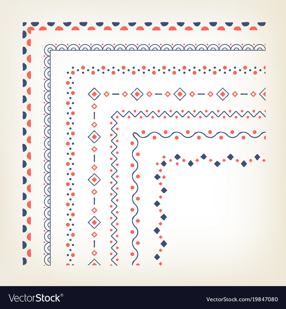 Borders with corner elements vector image