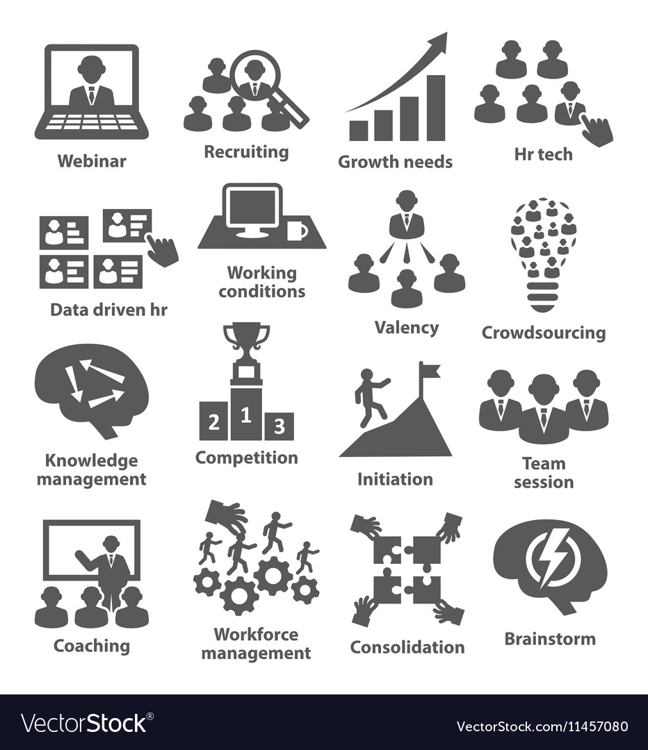Business management icons Pack 30 vector image