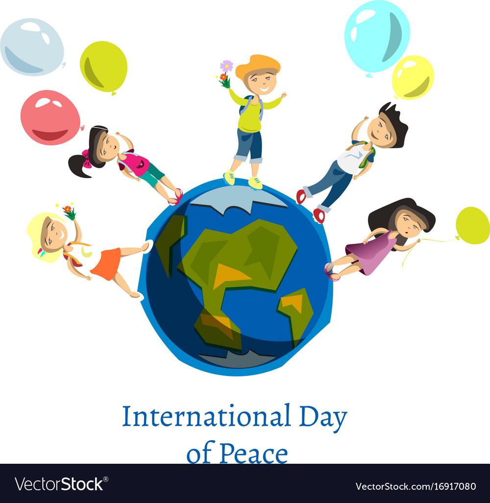 Children celebrate world peace day vector image