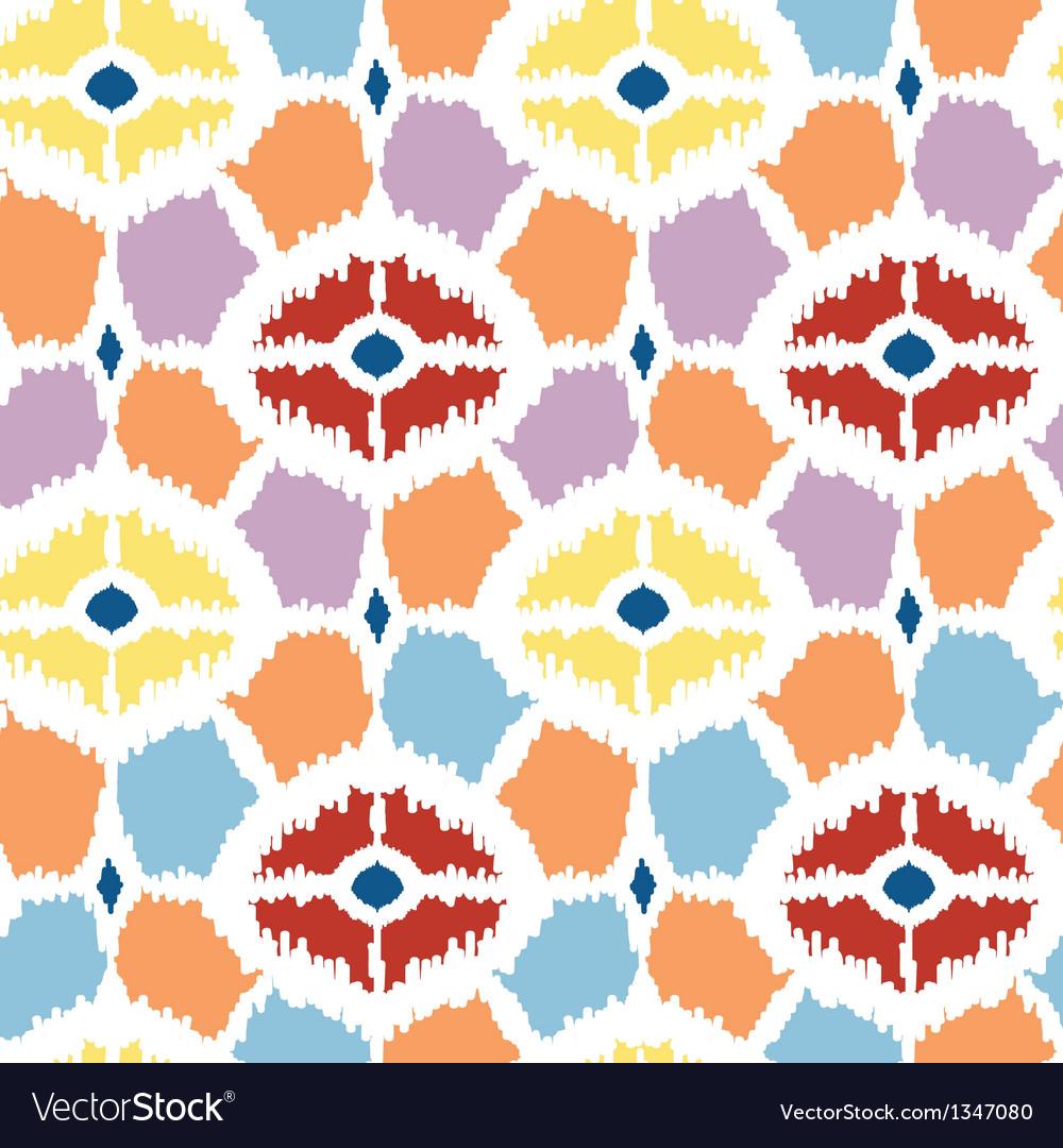 Colorful diamonds ikat geometric seamless pattern