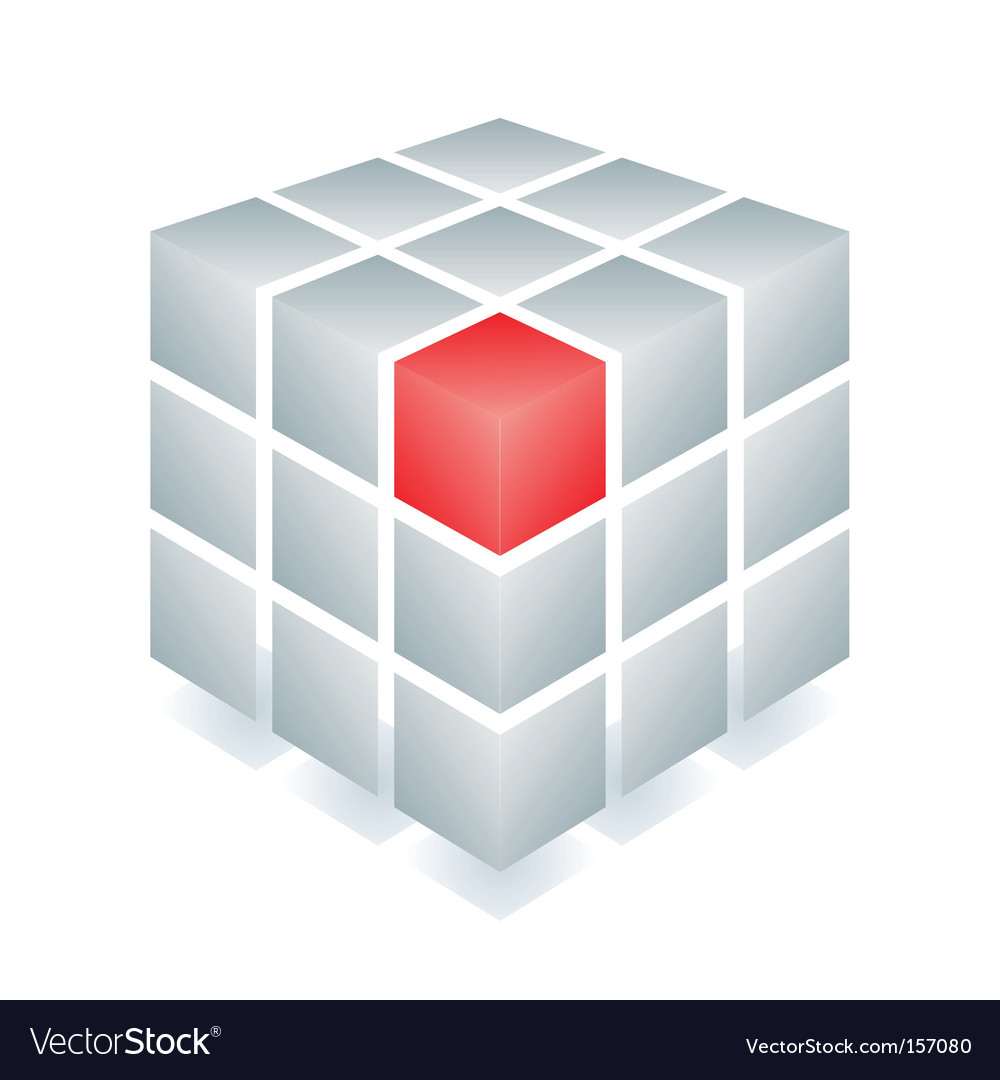 Cube with one red block vector image