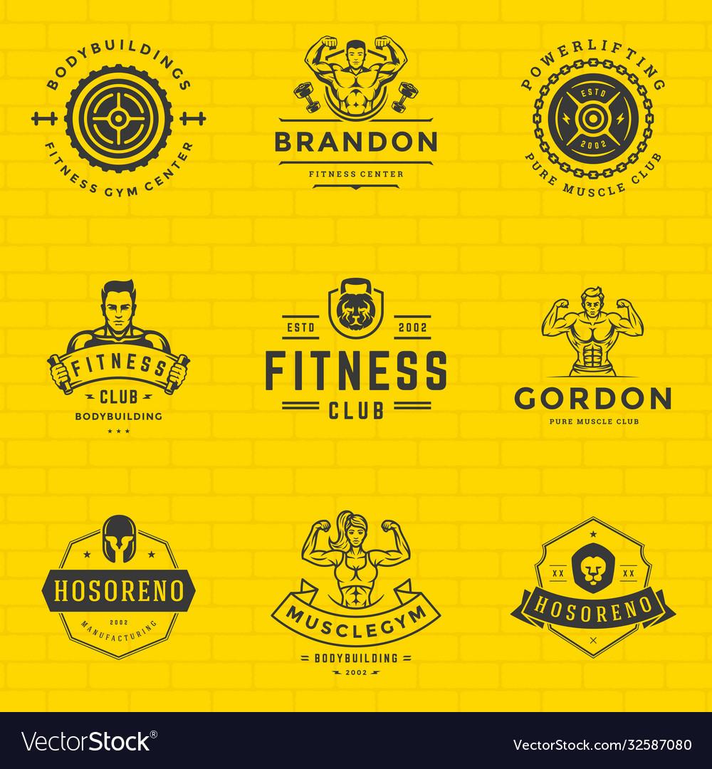 Fitness logos and badges design sport equipment