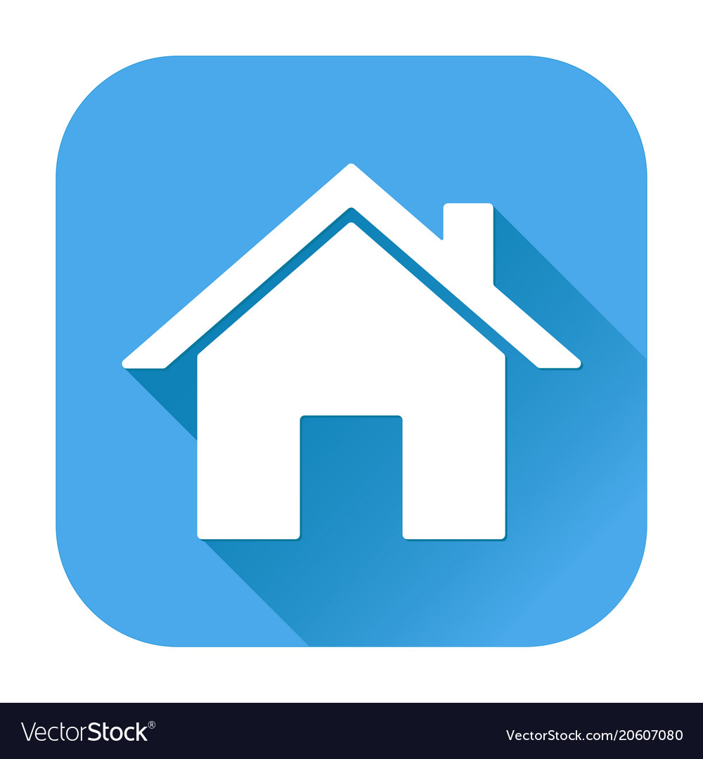 Home icon white silhouette on blue square Vector Image