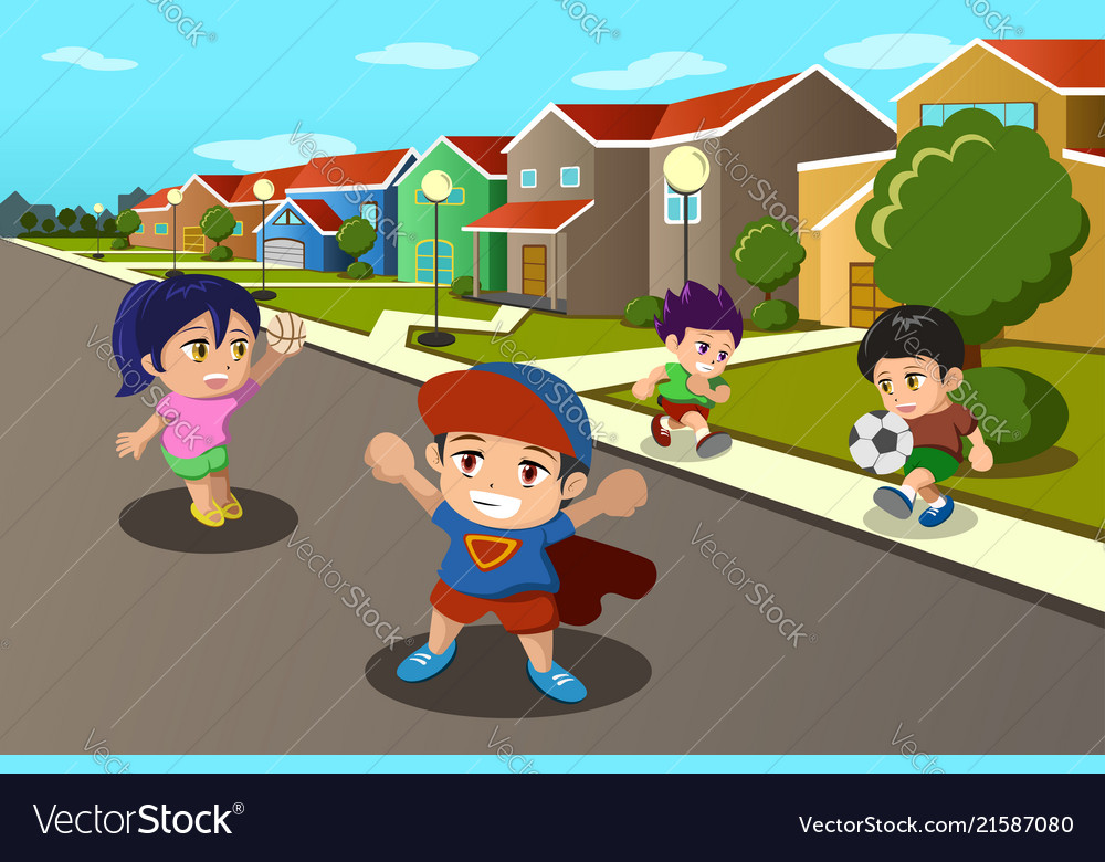 Kids playing in the street of a suburban