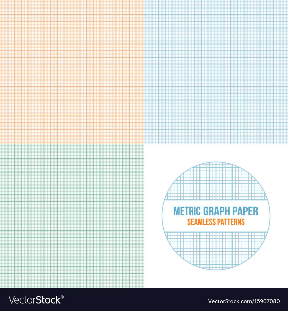 metric graph paper seamless patterns set vector image