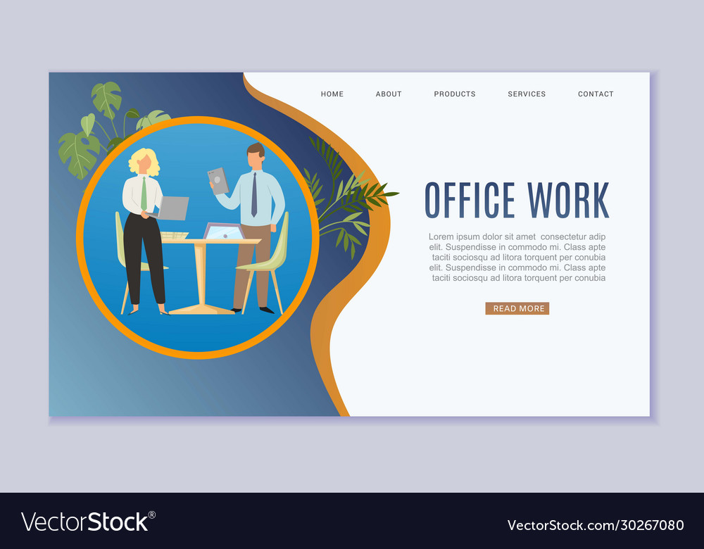 Office work and business workplace web template