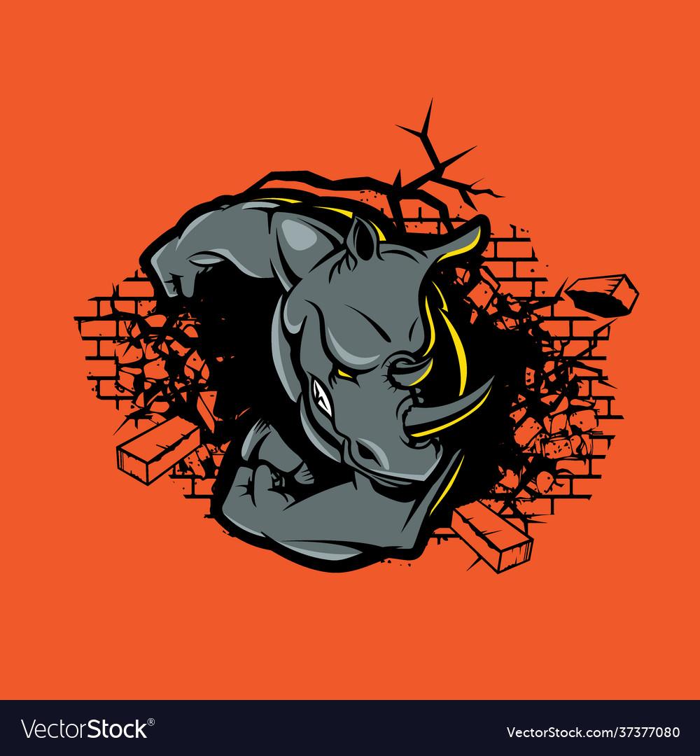 Rhino crushes wall