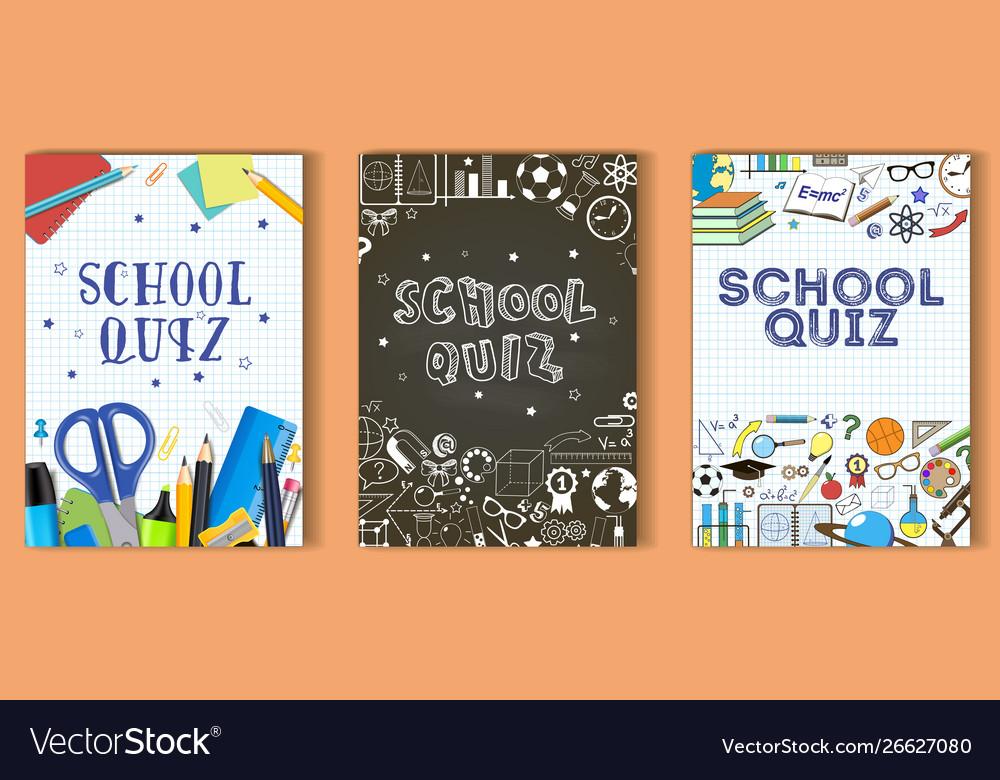 School quiz poster template set