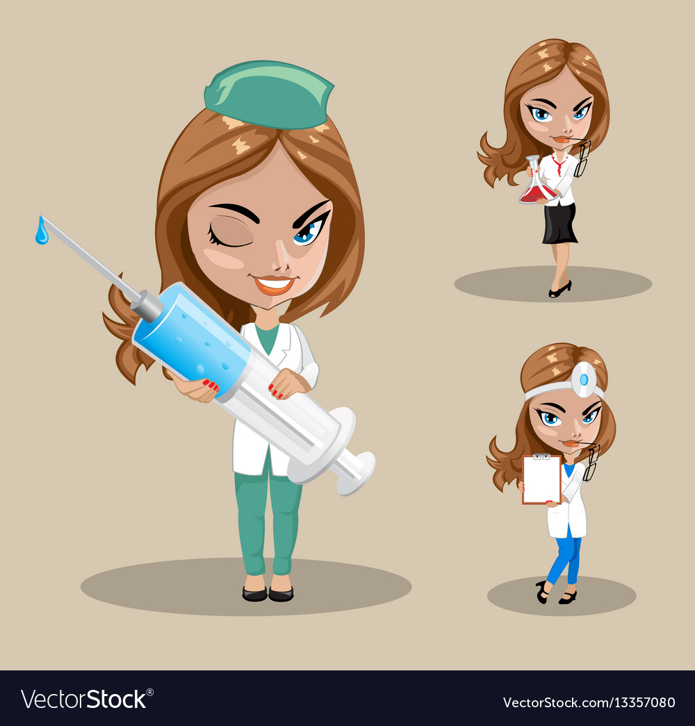 Woman doctor or nurse in a set of three
