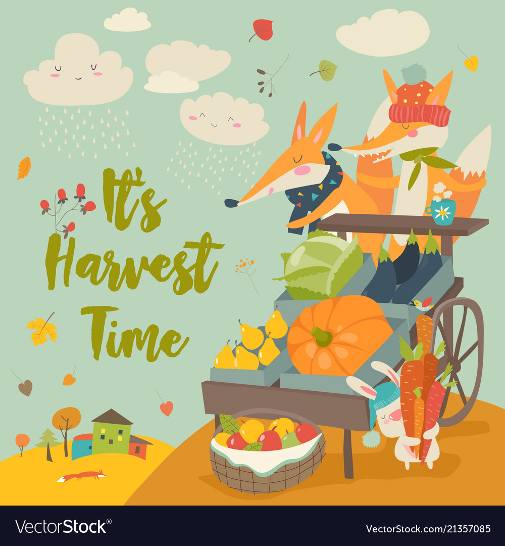 Cute foxes with wheelbarrow with fruits and