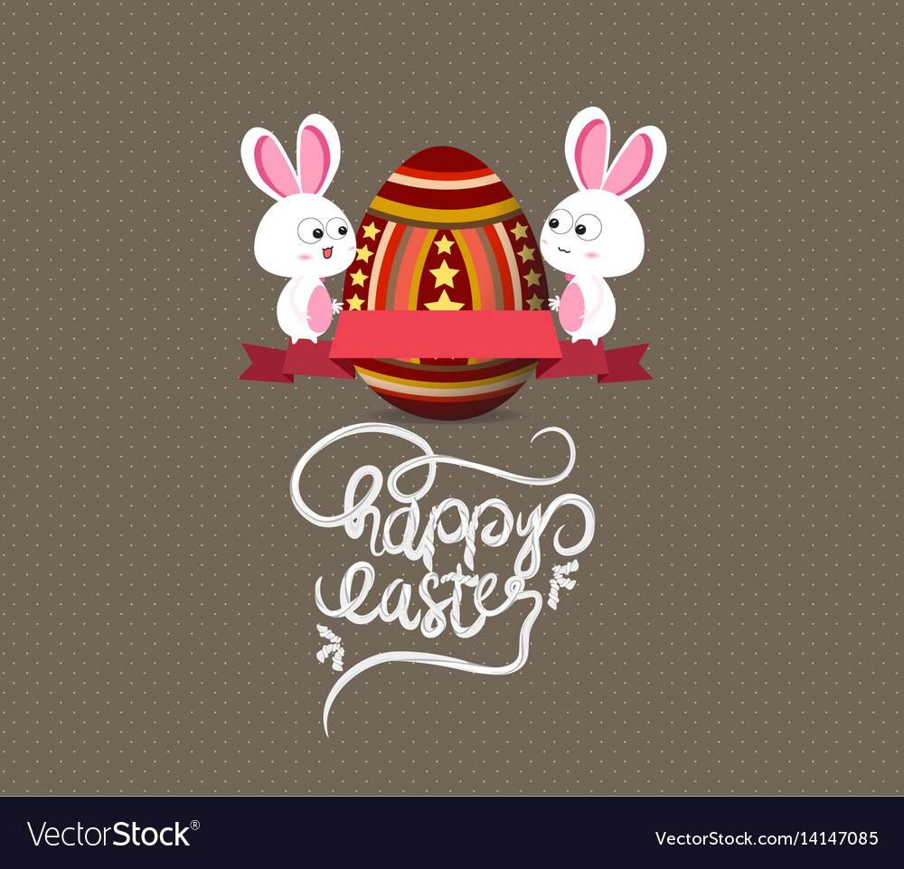 Easter eggs and bunny greeting card with label