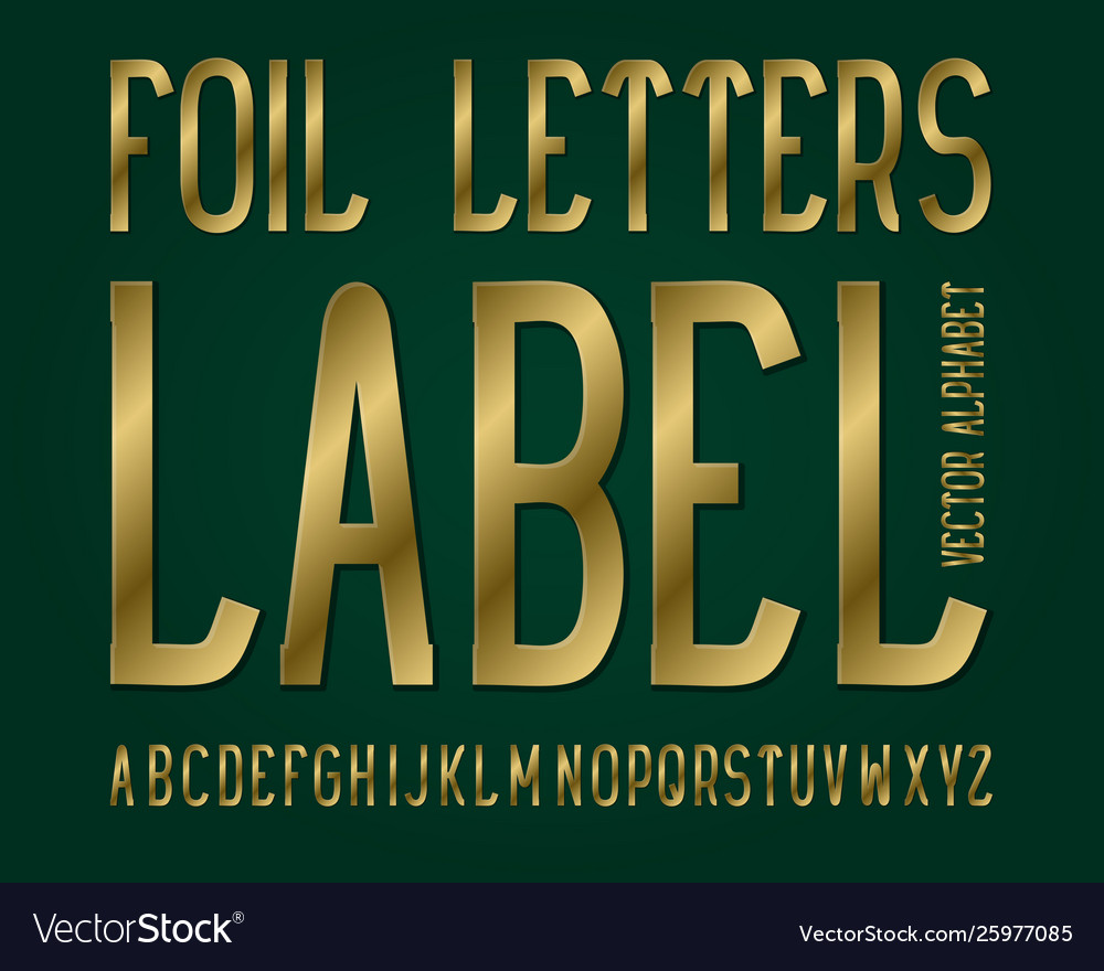 Foil letters label typeface golden font isolated