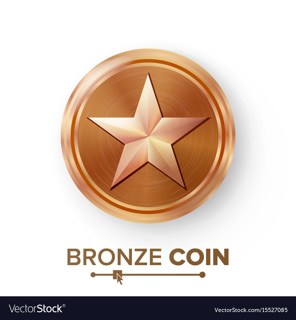 Game bronze coin with star realistic