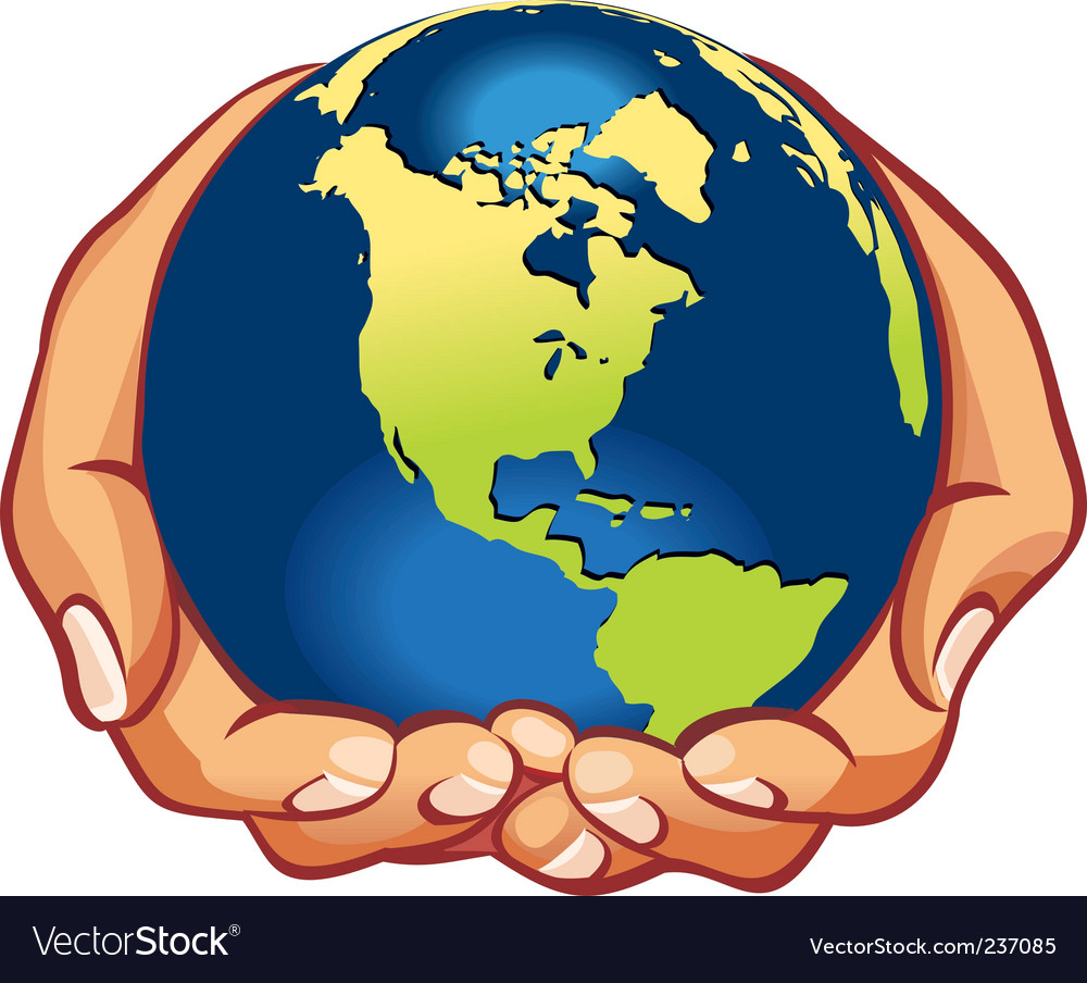 Hands with earth vector image