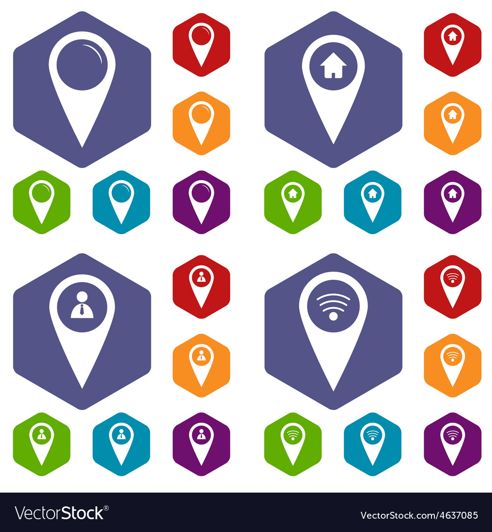 Map Marker Icon Set Map marker icon set Royalty Free Vector Image   VectorStock