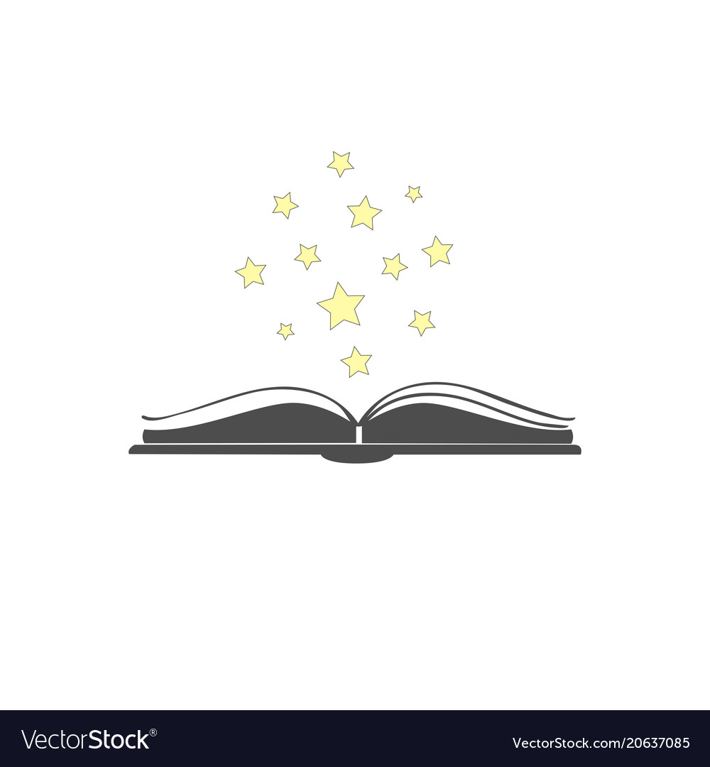 Open book icon with stars over it