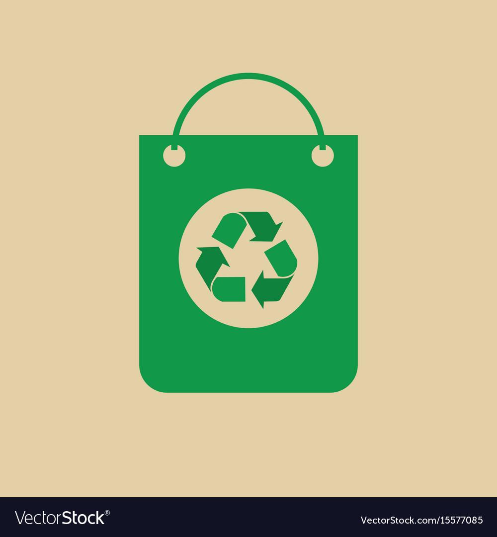 Recycle symbol on shopping bag green arrows logo