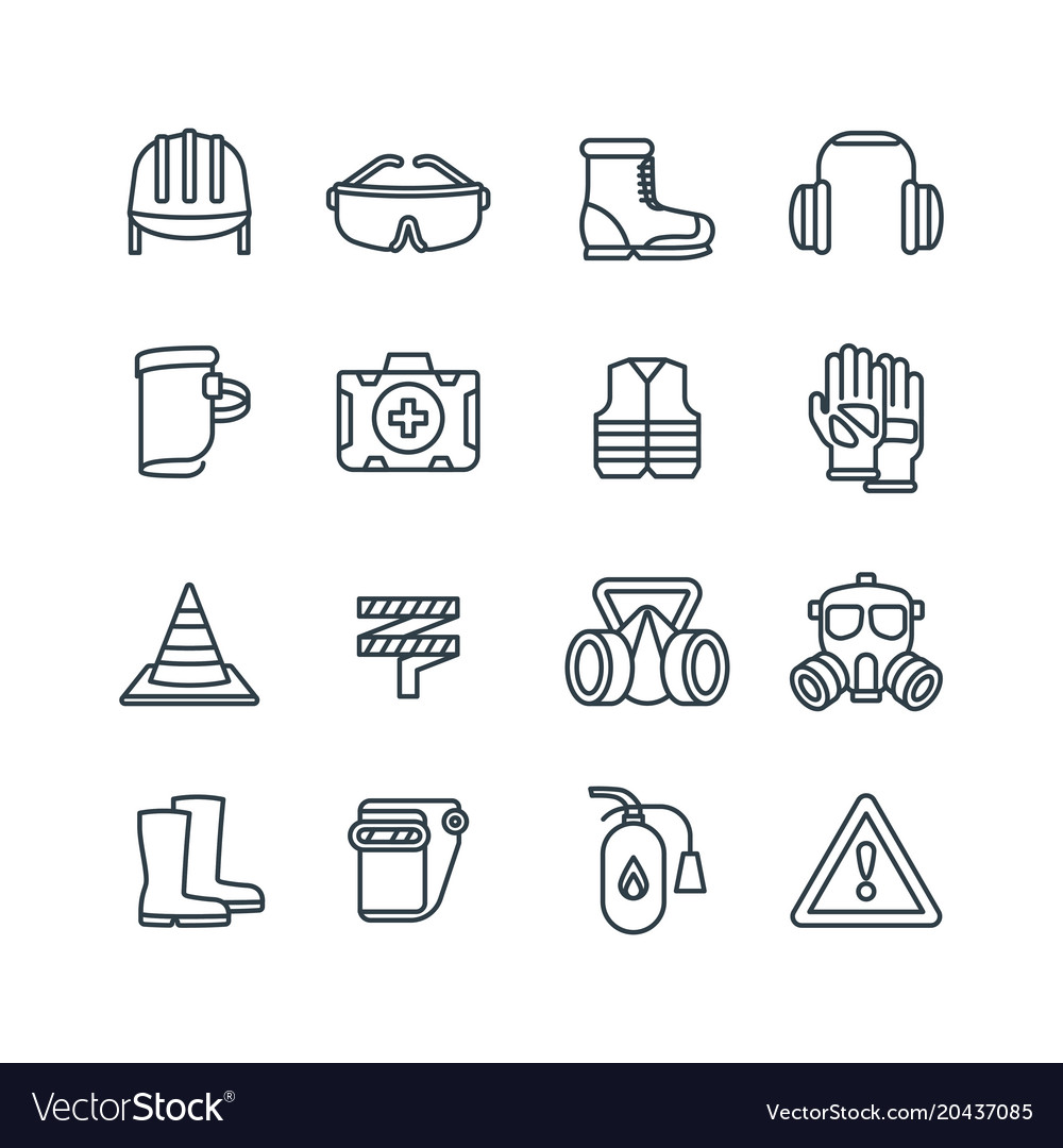 Safety work equipment and protective clothing line vector image