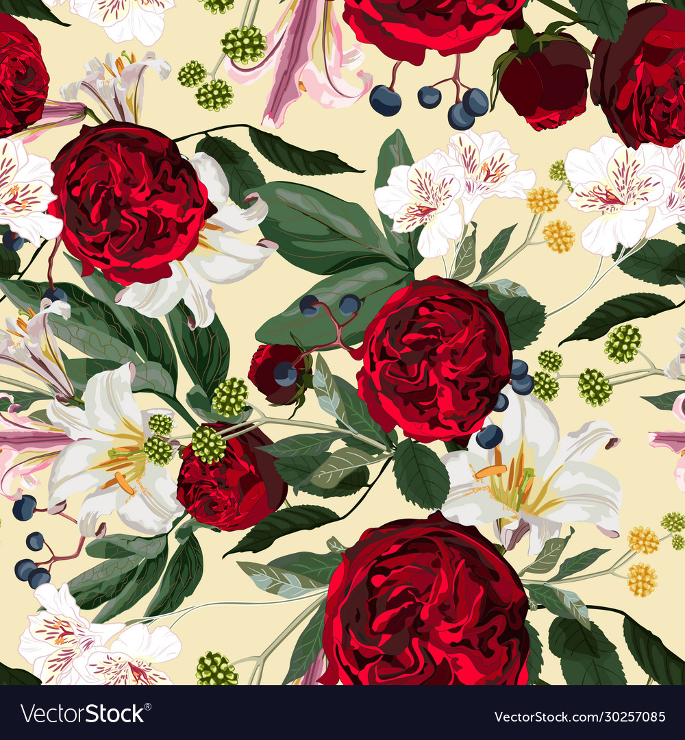 Seamless pattern with red peony roses