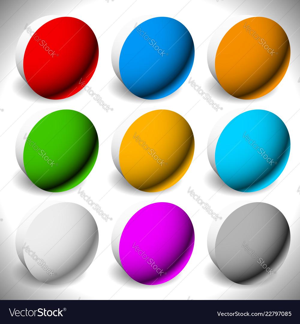 Set 3d button backgrounds 9 different colors