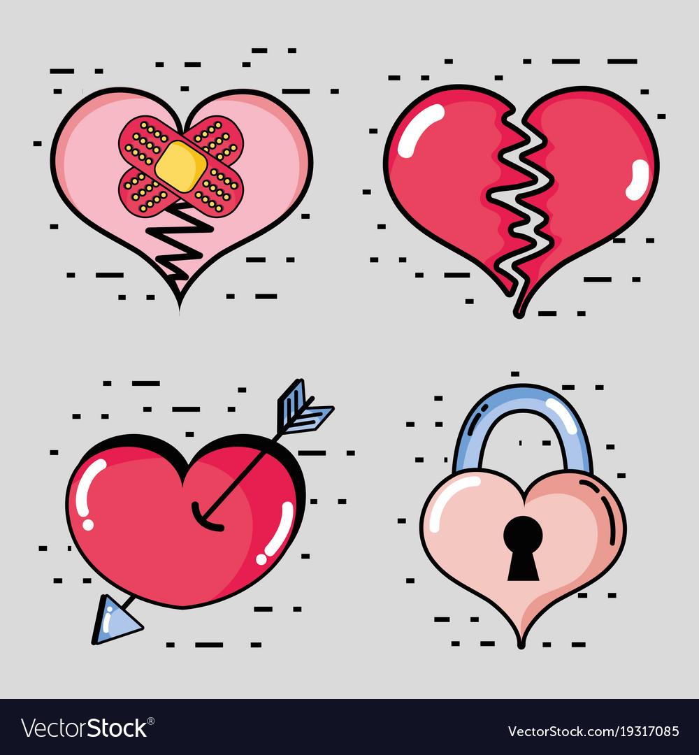 set different hearts shapes decoration design vector image