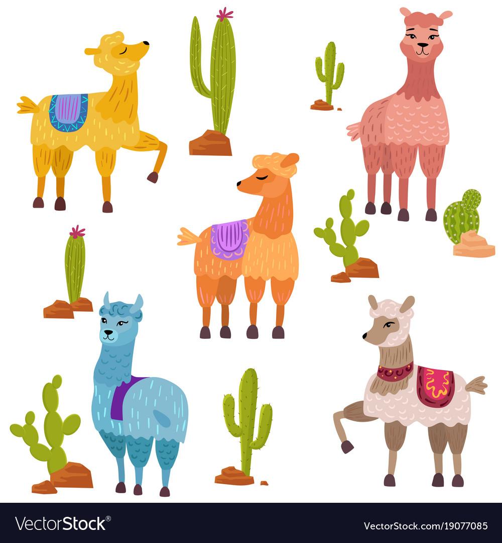Set of cute cartoon lamas characters with