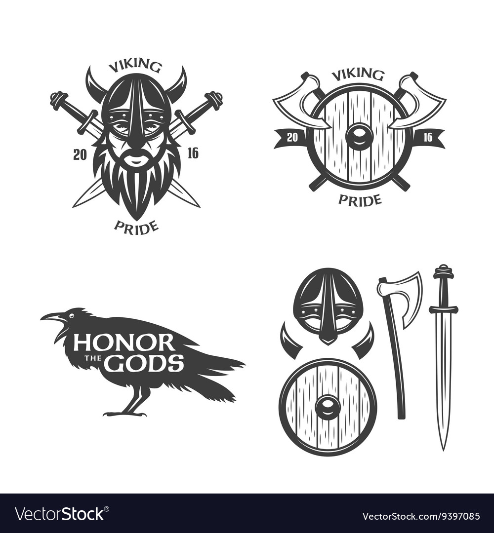 Viking related t-shirt graphics set