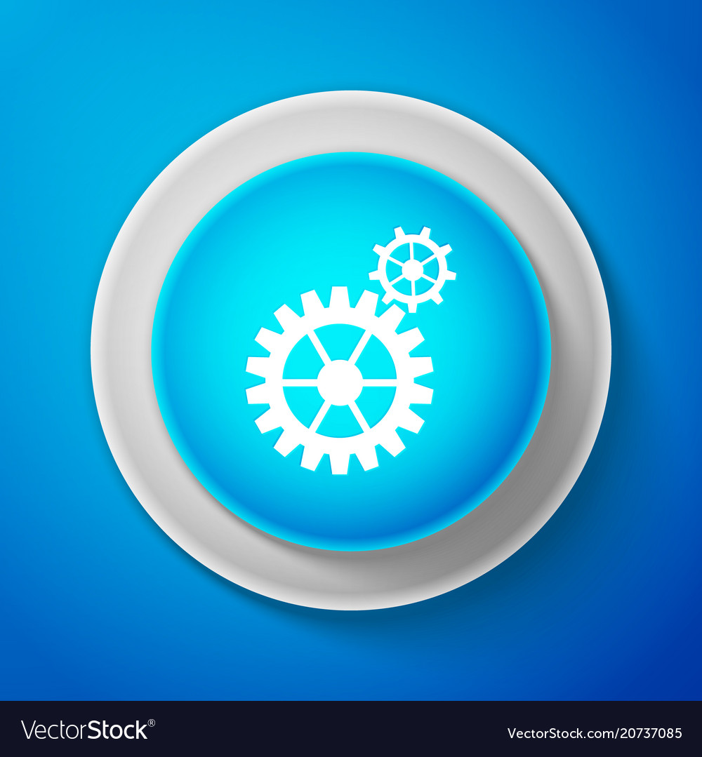White gear icon cogwheel gear settings sign vector image