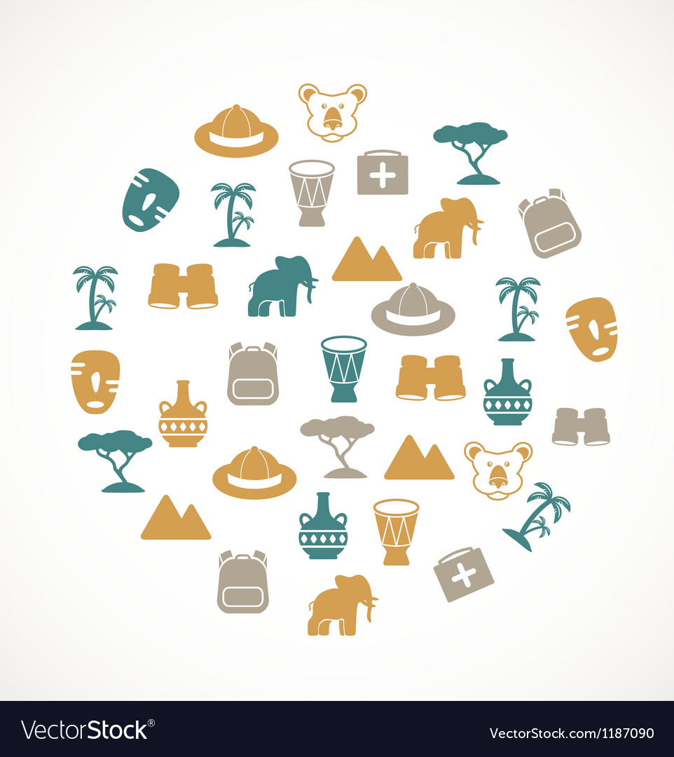 Africa symbols vector image