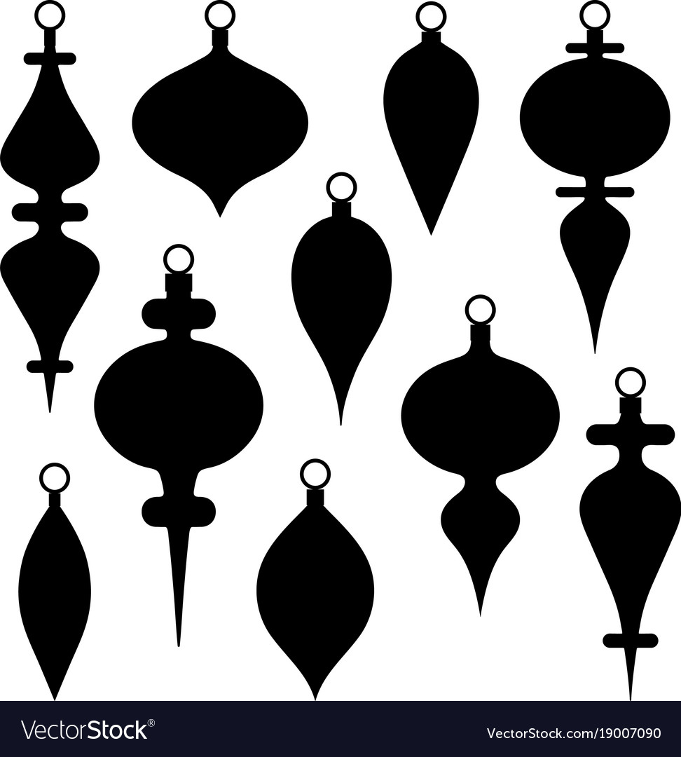 Black Silhouette Christmas Ornament Clipart