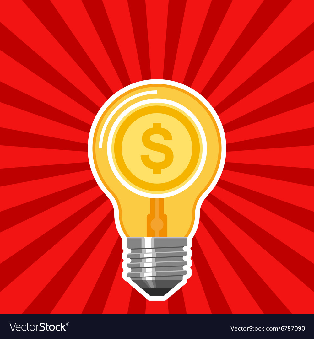 Business concept with light bulb and red rays vector image