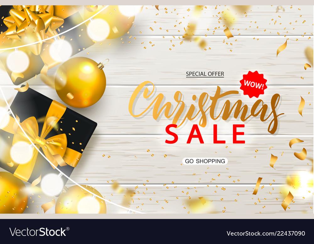 Christmas sale poster with shiny gold christmas