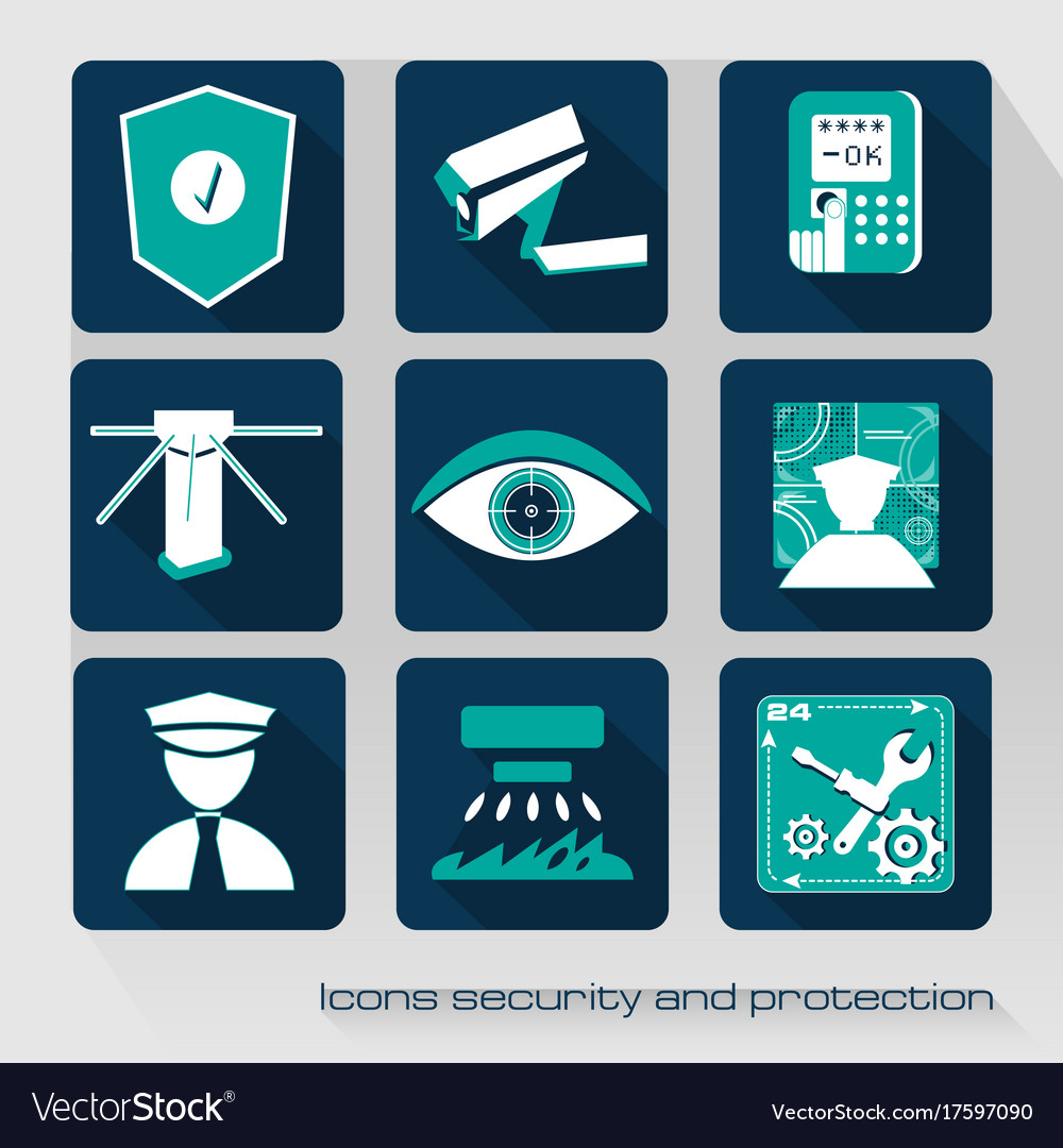 Icons security and protection vector image