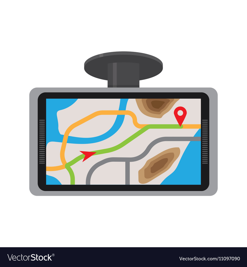 Mobile gps navigation with map vector image
