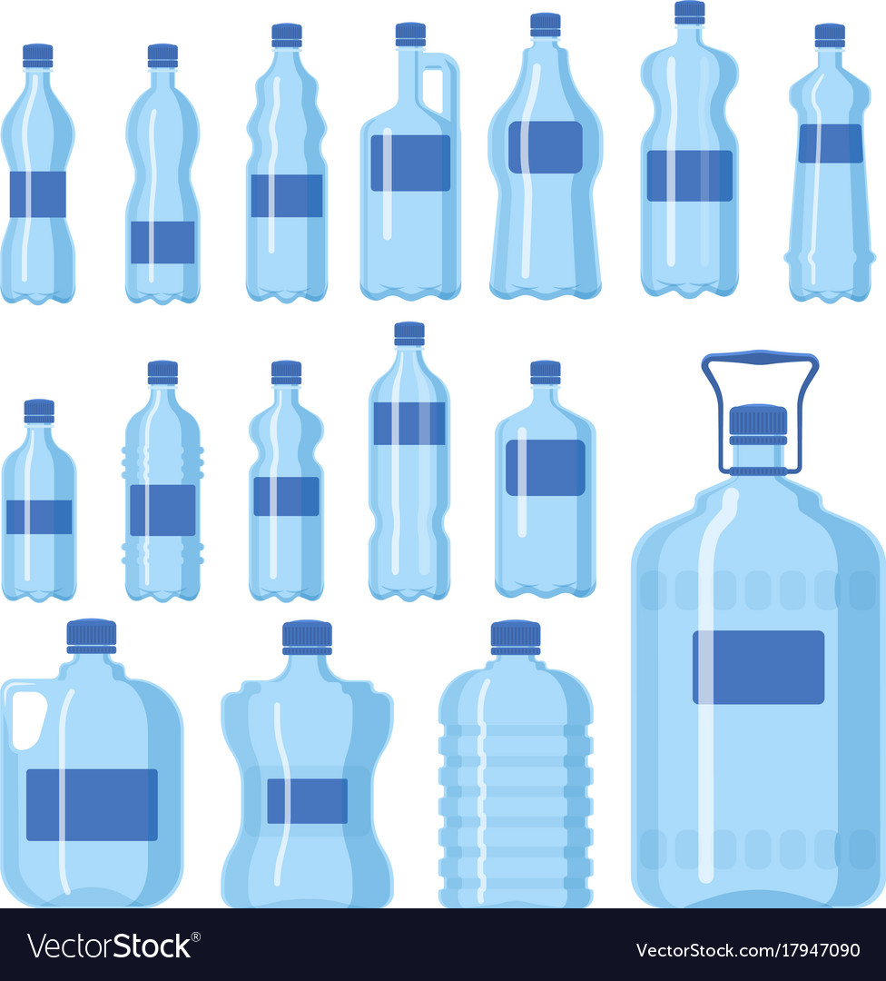 Plastic water bottle blank nature blue