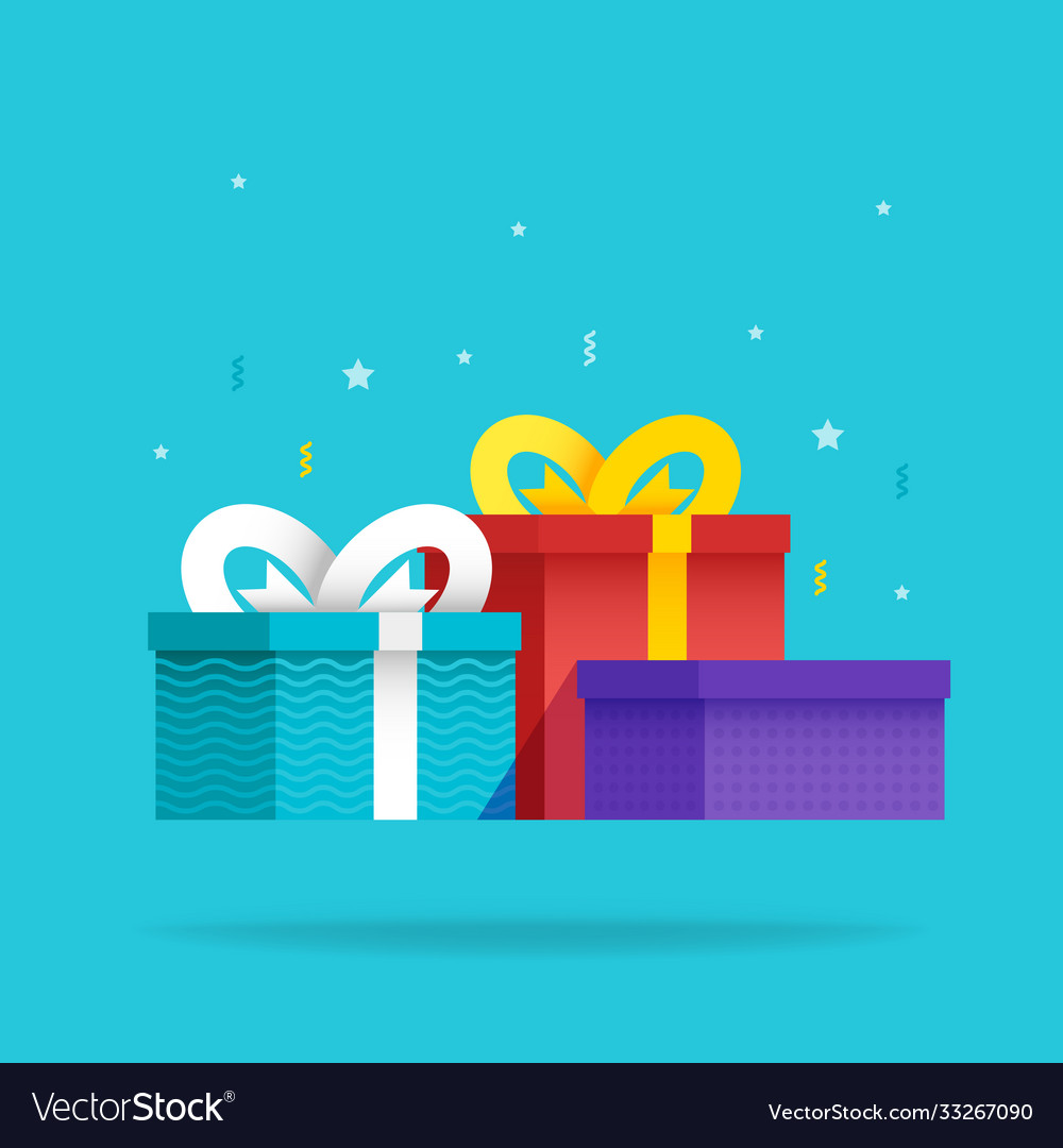 Set holiday christmas box surprise with ribbon