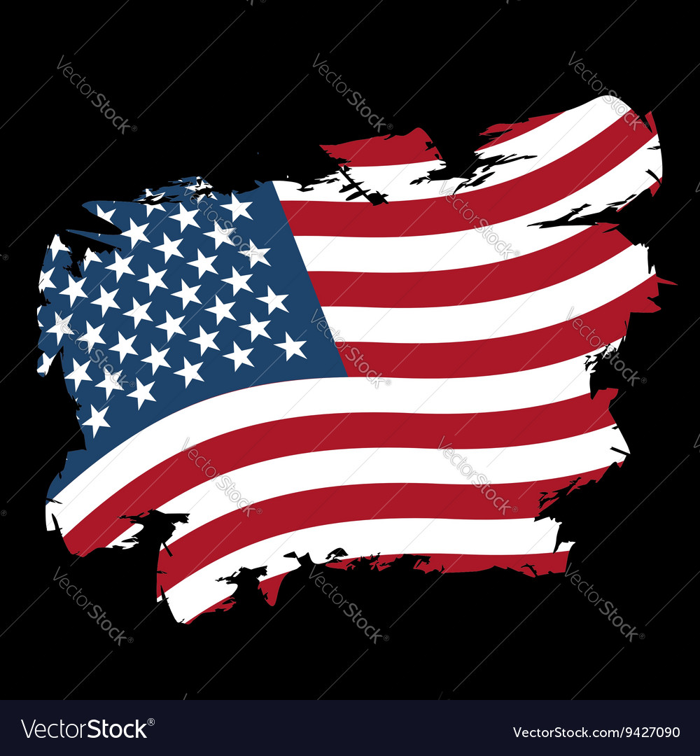 USA flag grunge style on black background Brush