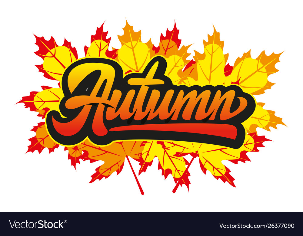 With calligraphic inscription autumn