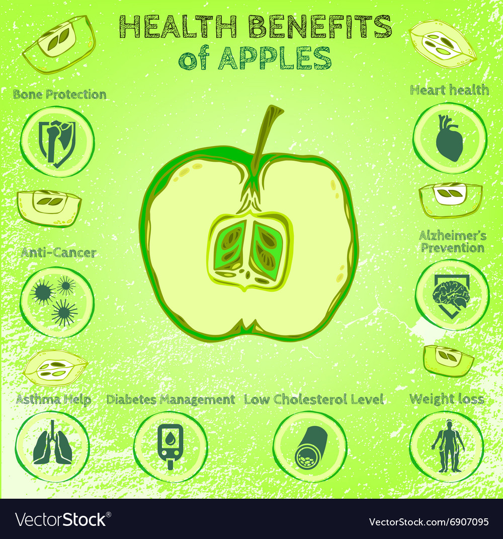 Apple Health Benefits Royalty Free Vector Image